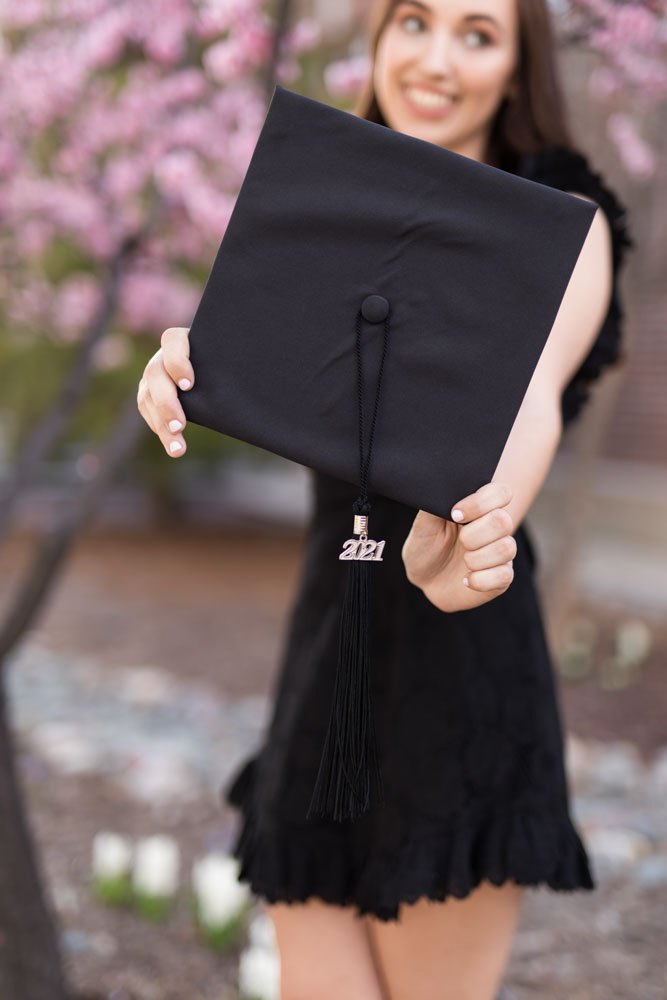 UNR Grad portraits in Spring on the beautiful UNR campus by Reno College Grad Photographer