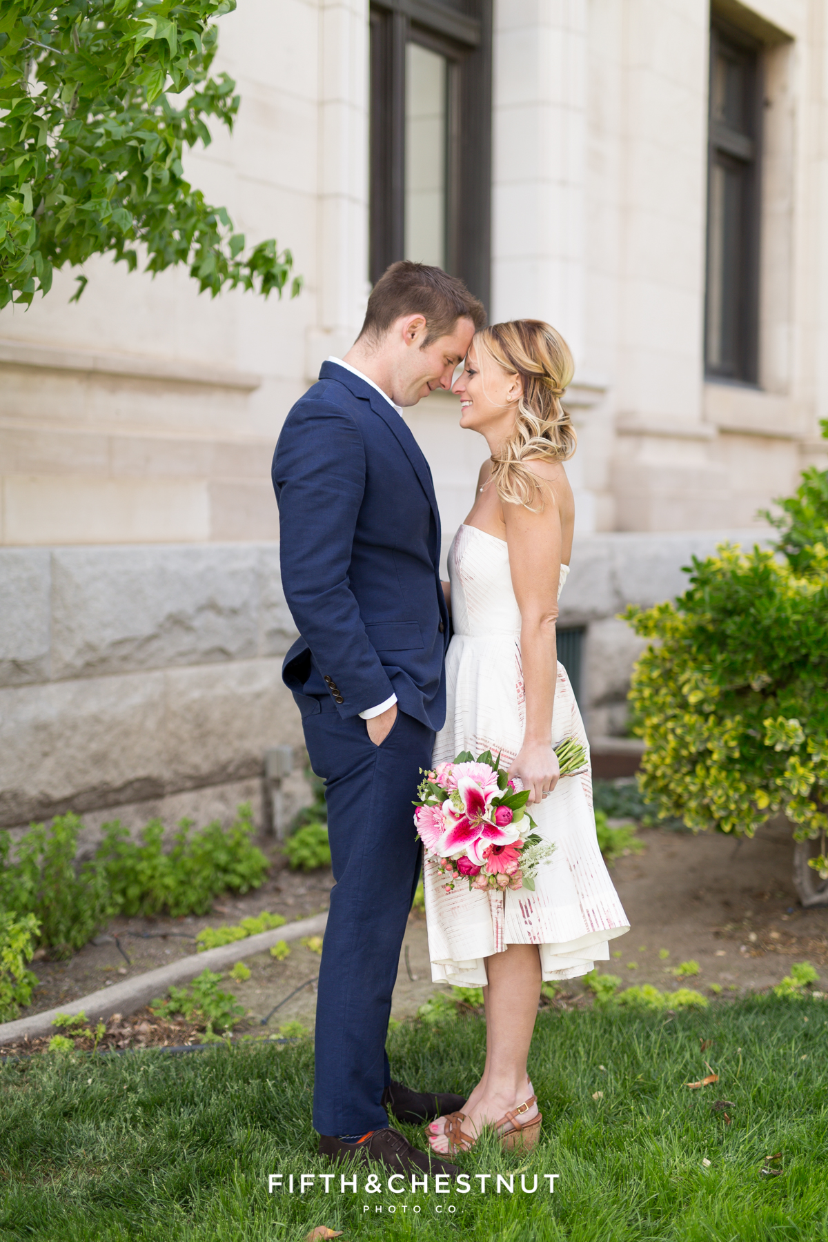 Romantic Bride and groom portrait on their wedding day in Downtown Reno with Reno Elopement Photographer