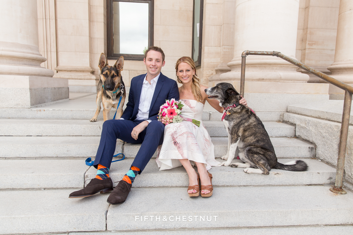 Portrait of bride and groom with dogs during their Downtown Reno elopement by Reno Wedding Photographer