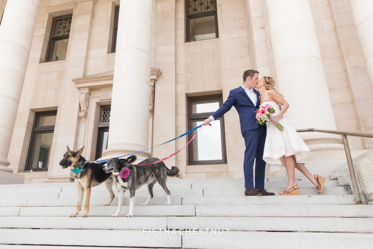 Bride and groom portrait with dogs in front of the courthouse during a Downtown Reno elopement by Reno Wedding Photographer