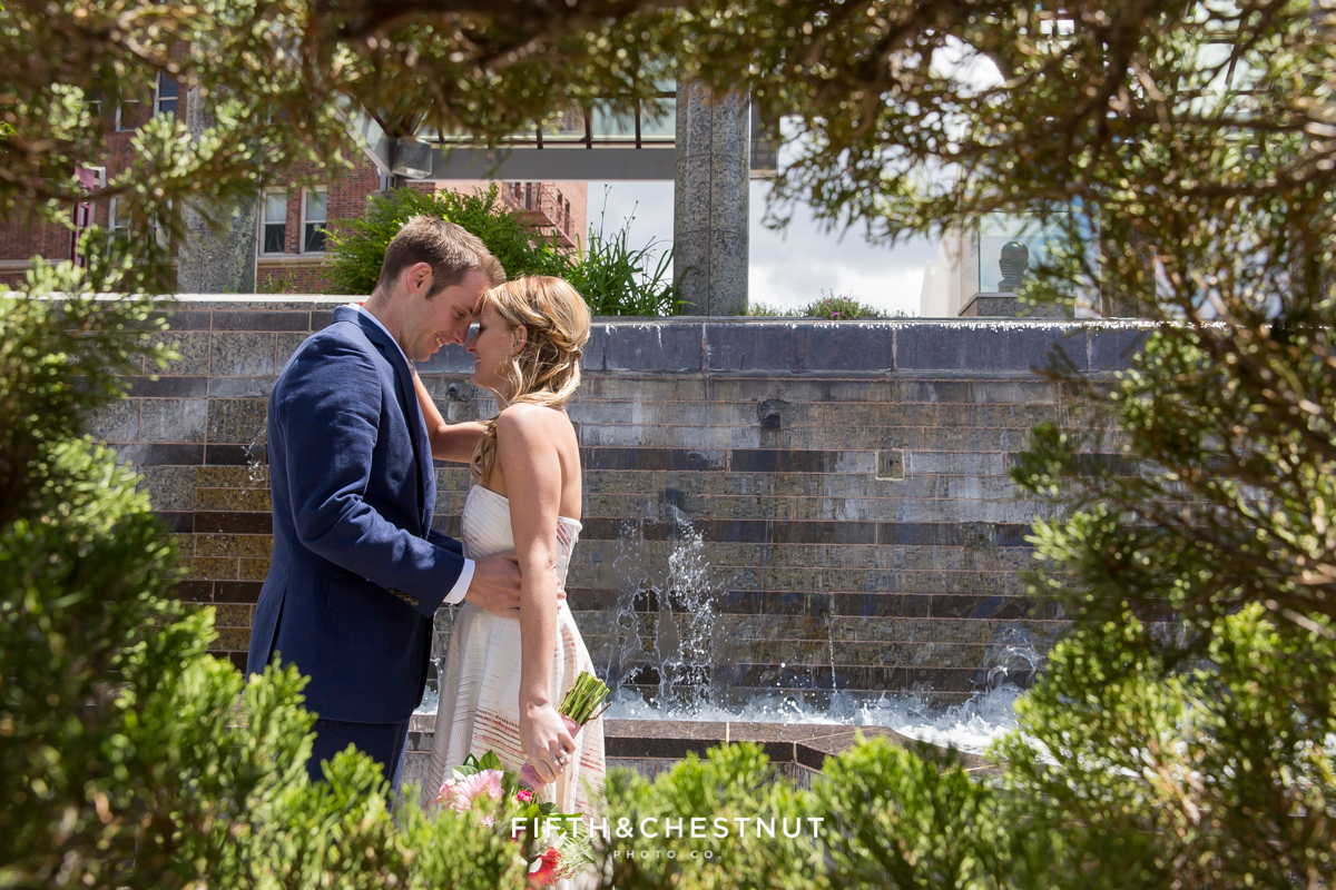 Downtown Reno elopement photo of bride and groom
