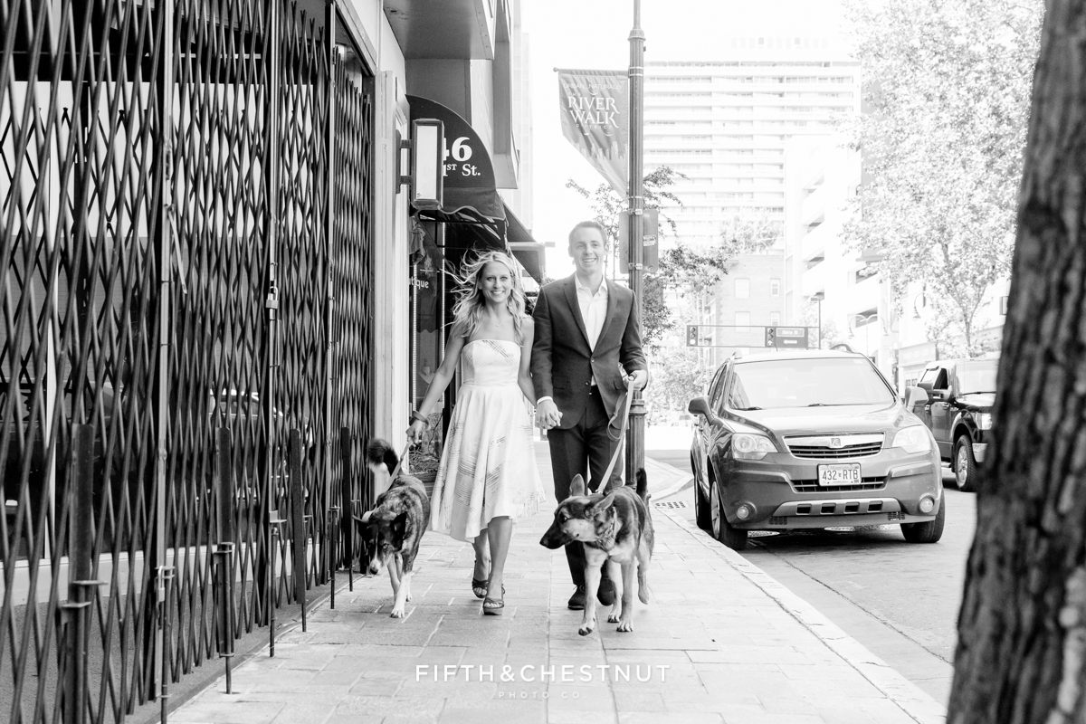 Couple walking dogs for a Downtown Reno elopement by Reno Wedding Photographer