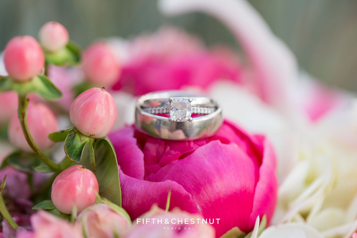 Wedding ring on a Bridal bouquet by St. Ive's Florist for a Downtown Reno elopement