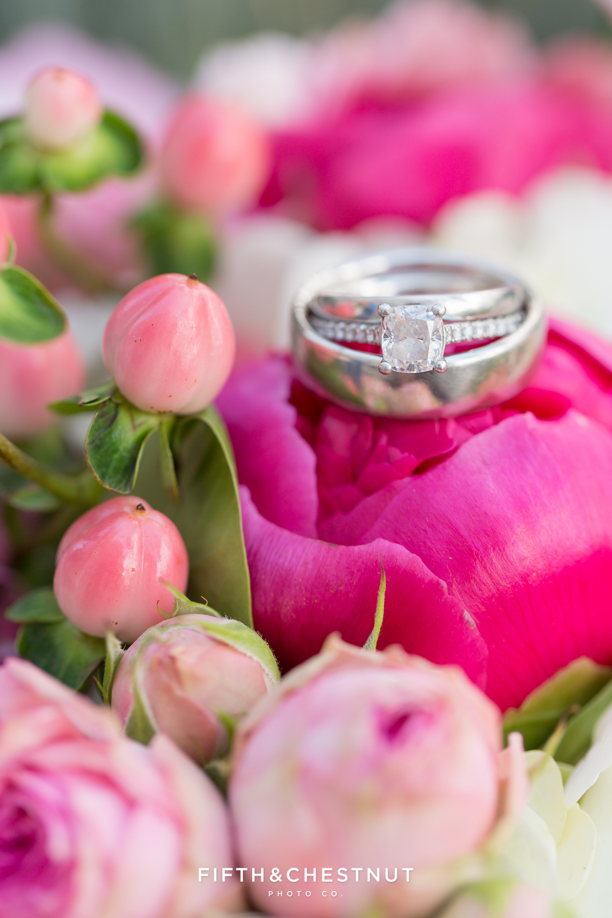 Wedding rings on a Bridal bouquet by St. Ive's Florist for a Downtown Reno elopement