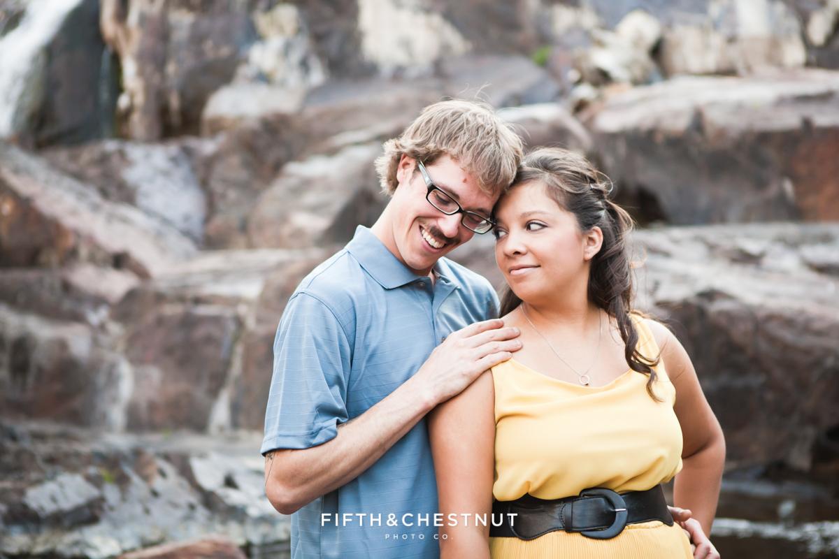 Enaged Couple's Fallen Leaf Lake Portraits at Glen Alpine Falls
