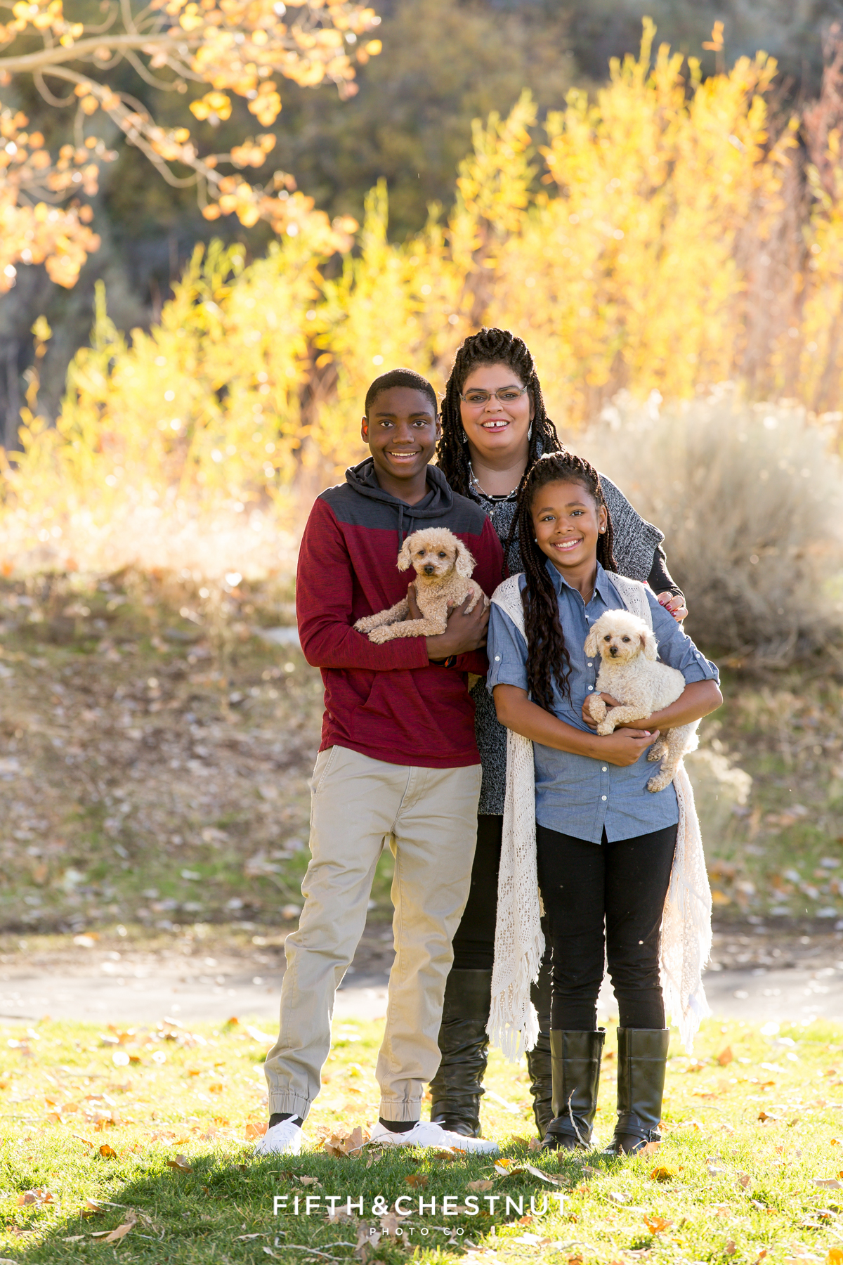 Beautiful Reno fall family portraits with dogs at Mayberry Park in Reno by Reno Family Photographer