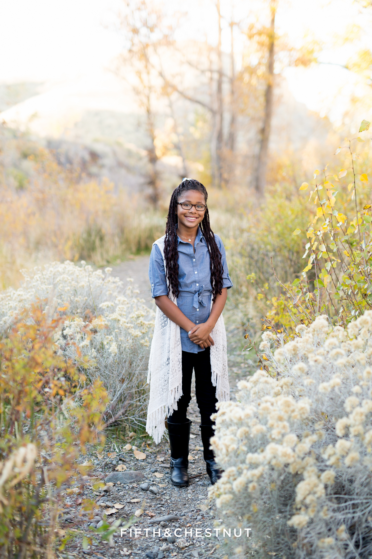 Fall family portraits of a young woman at Mayberry Park in Reno by Reno Family Photographer