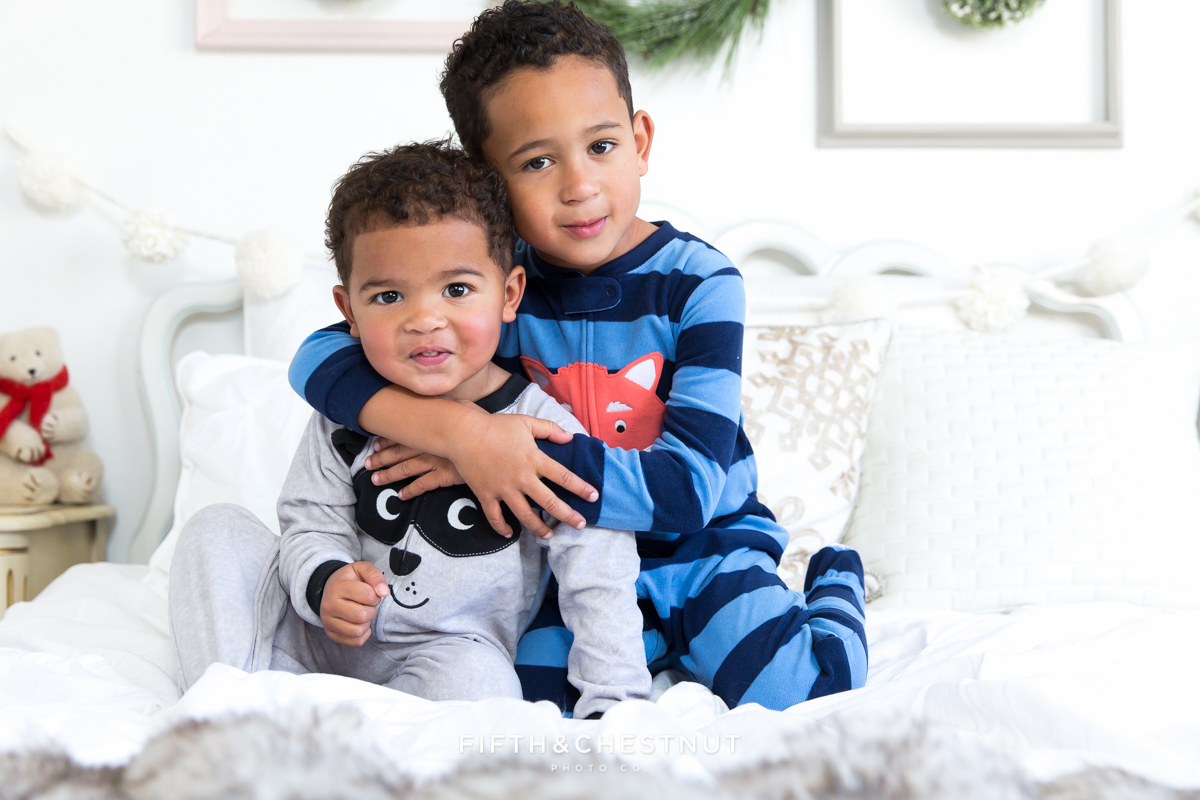 Winter Holiday Pajama Portraits | Mitchell Boys by Reno Child Portrait Photographer