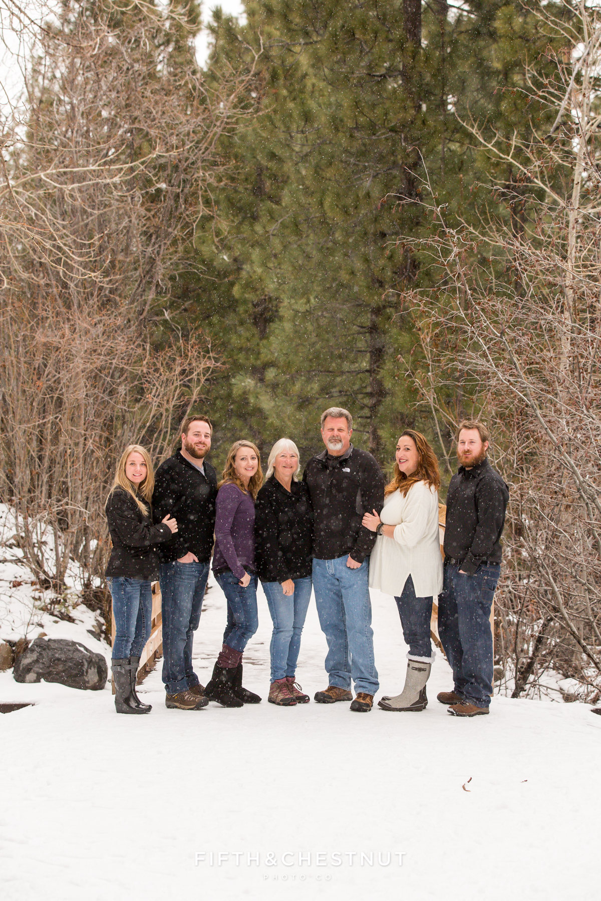 Pre Holiday Portraits at Galena Creek Park by Reno Family Photographer with snow falling