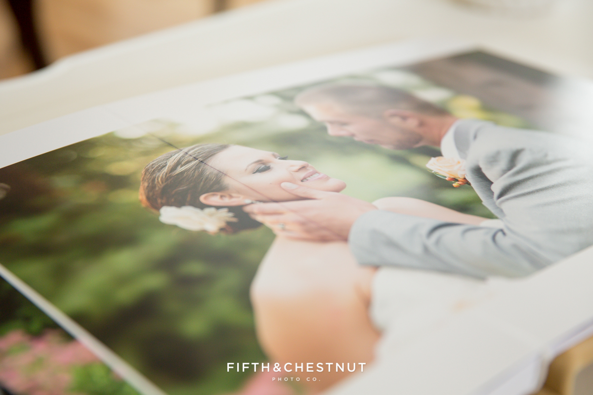 interior page of a lake tahoe wedding photographer album