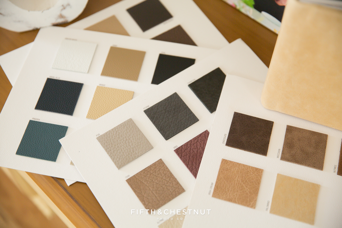 lake tahoe wedding photographer album leather swatches