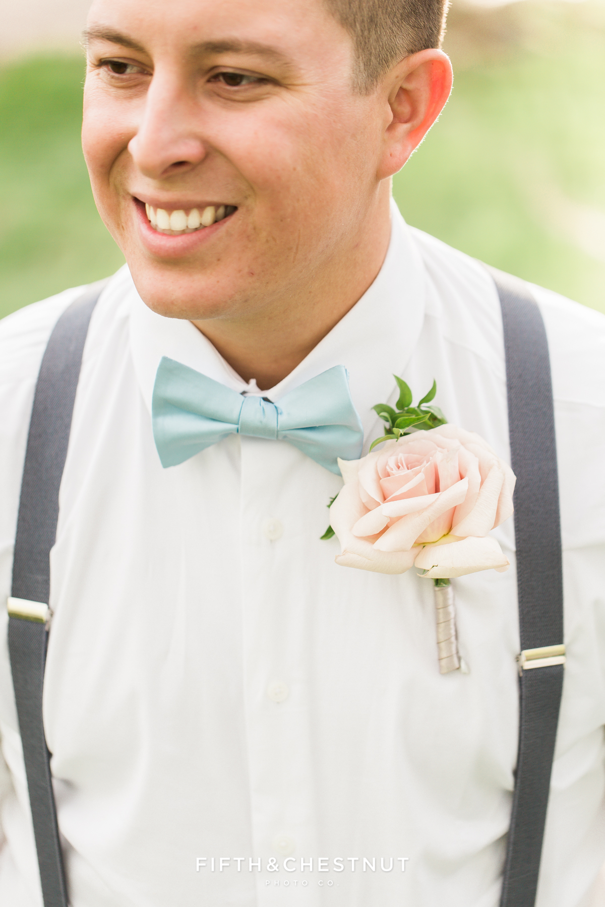 Groom's boutonnierre and dusty blue tie details for a dusty blue private estate country french wedding inspiration styled shoot by Lake Tahoe Wedding photographer