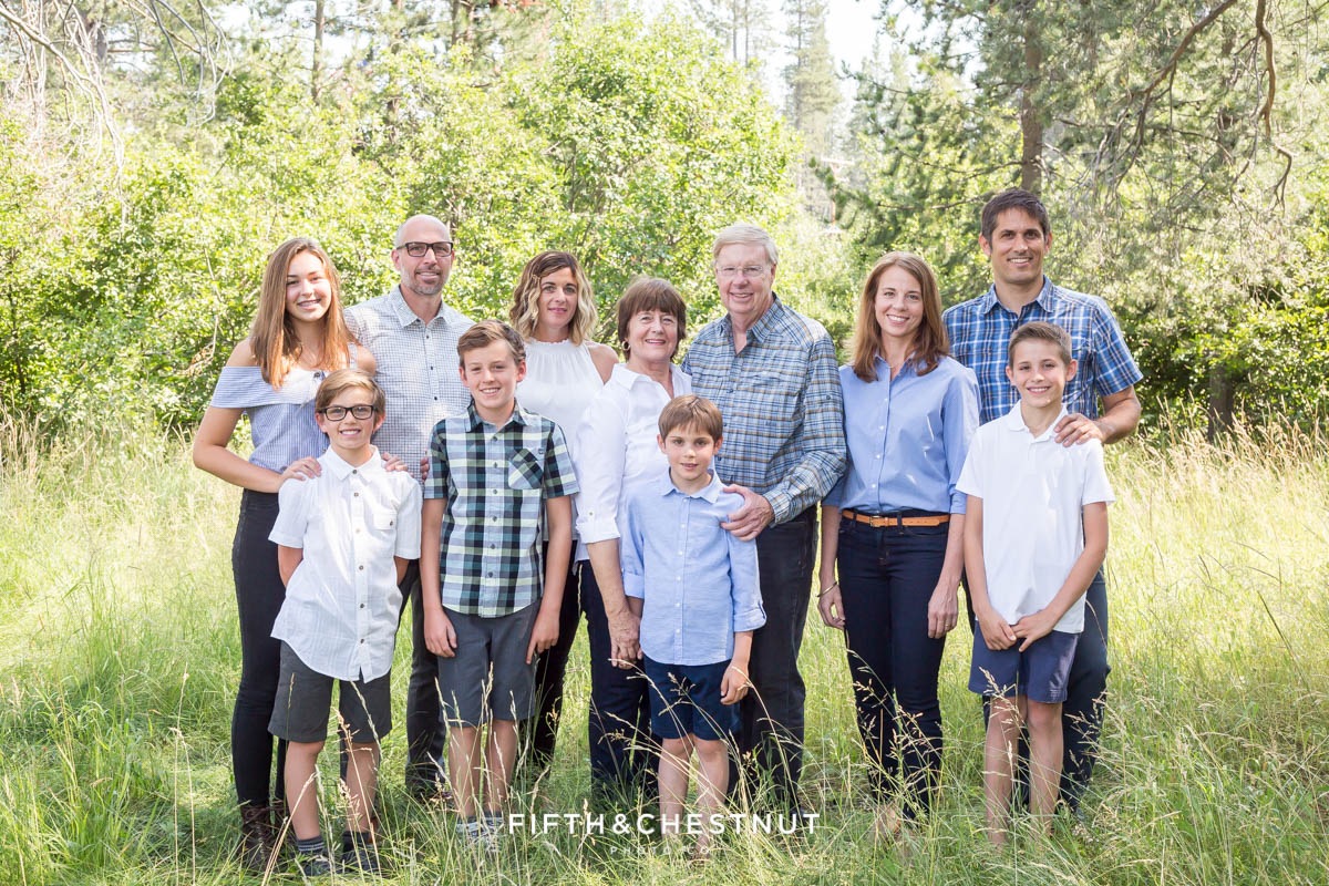 Extended Family Portrait with grandparents and grandchildren in Tahoe Donner area by Truckee Family Photographer