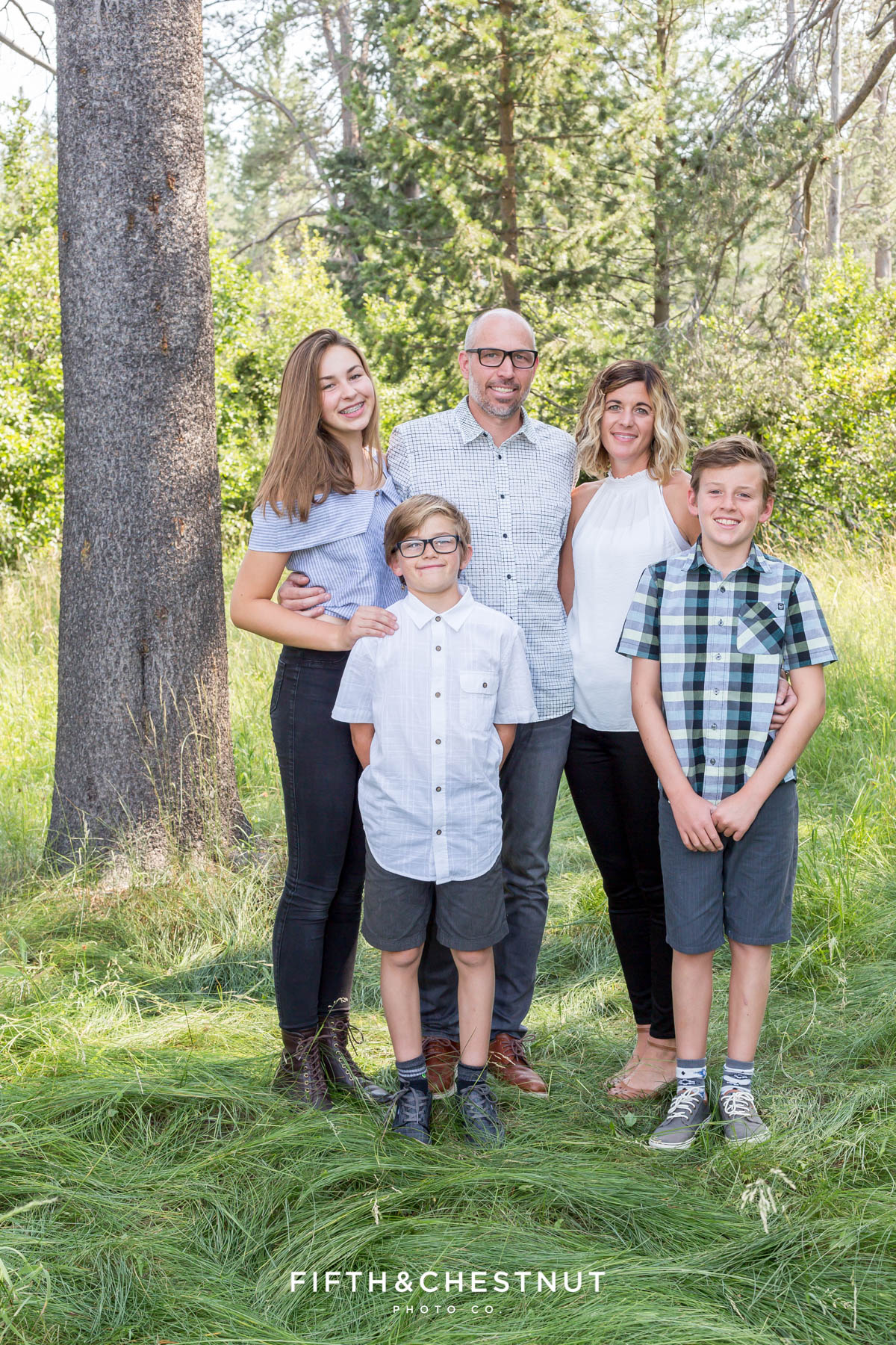 family portrait in truckee on a sunny summer day by truckee family photographer