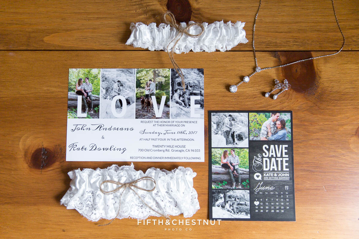wedding day details photographed from above such as wedding invites, garters and jewelry