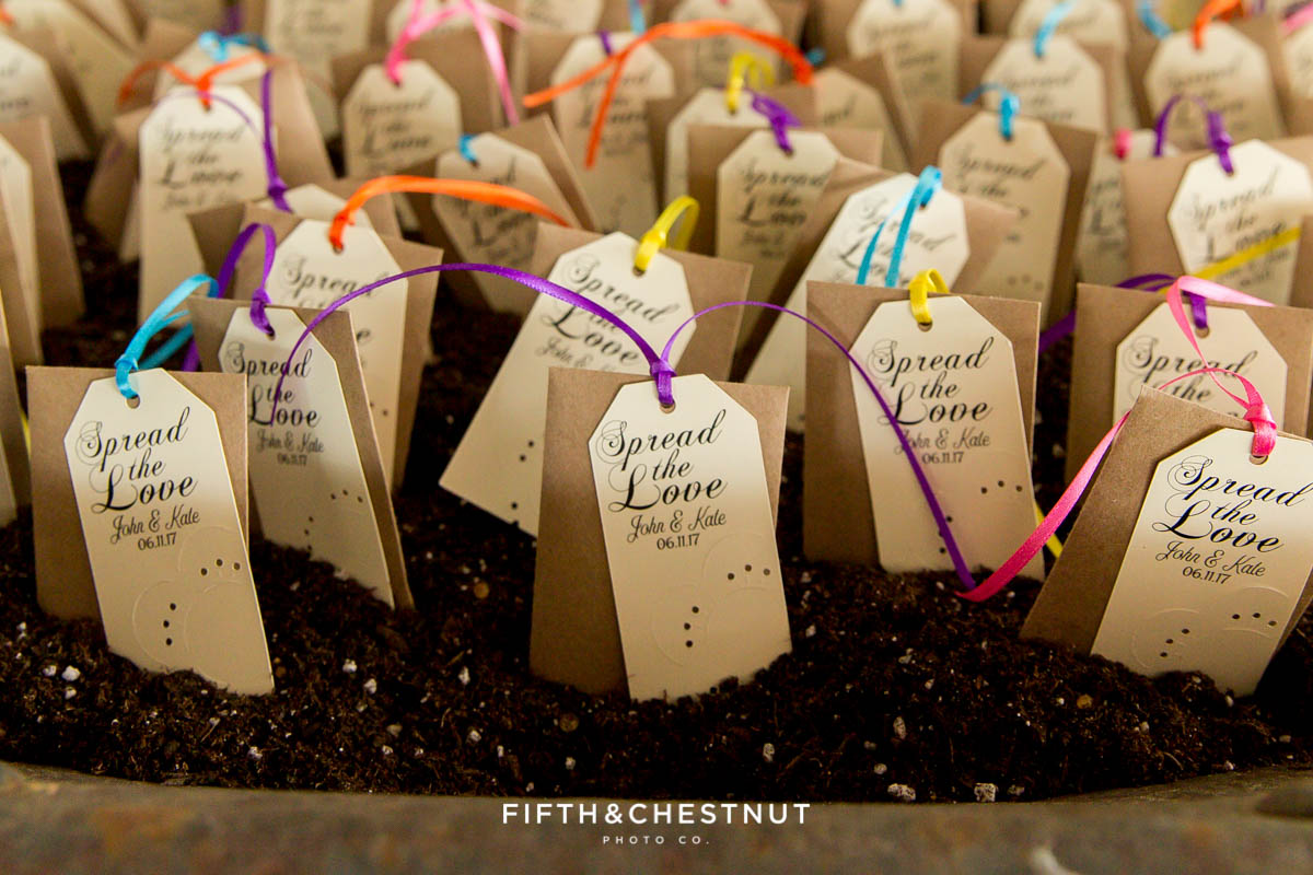 seed packets as wedding favors for a Twenty Mile House wedding