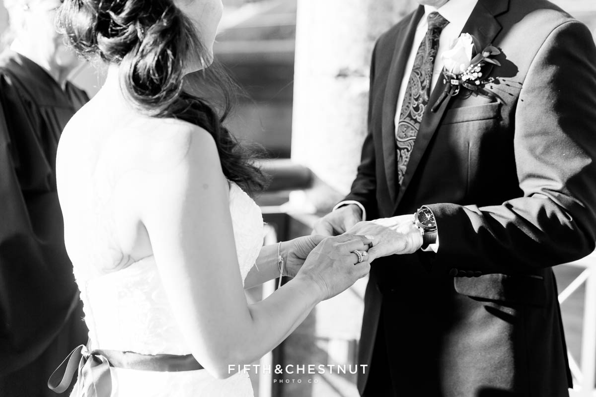 ring exchange at a Downtown Reno Elopement