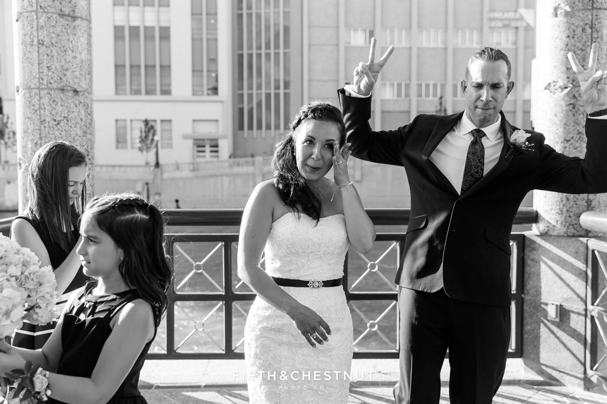 bride and groom celebrate their Downtown Reno Elopement