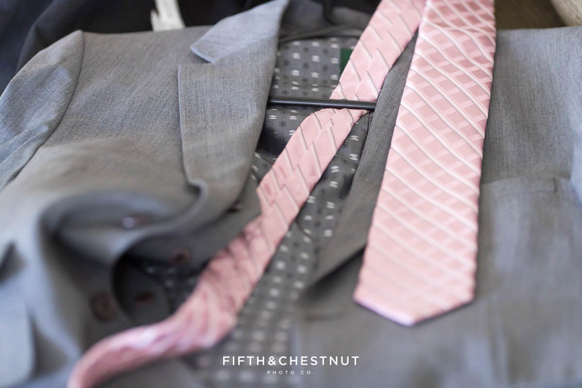 Groom's suit and pink Michael Kors tie for his North Lake Tahoe Wedding by Lake Tahoe Wedding Photographer