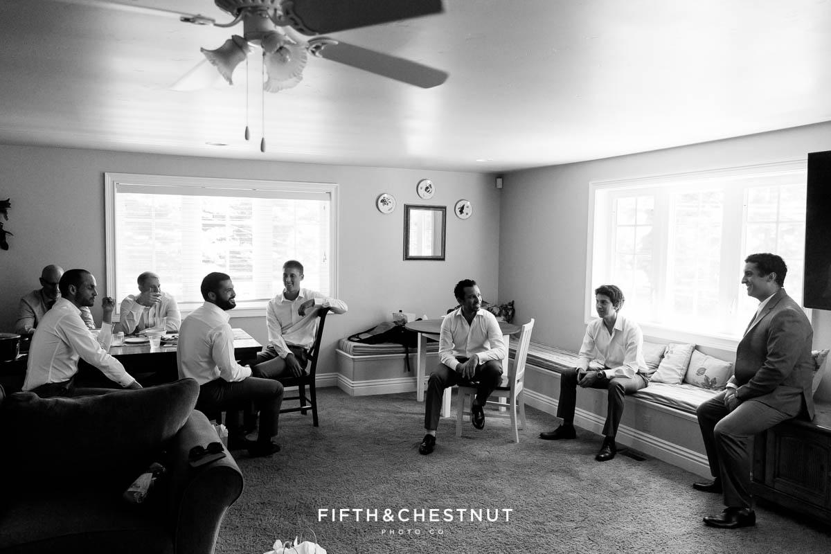 Groom and groomsmen chill before groom's North Lake Tahoe Wedding
