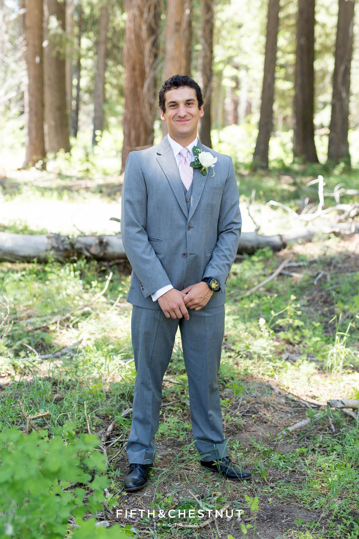 Groom smiles before his North Lake Tahoe Wedding