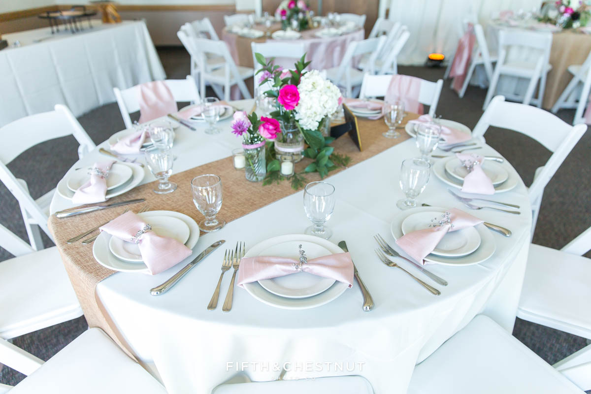 wide shot of a decorated table for a north lake tahoe wedding reception