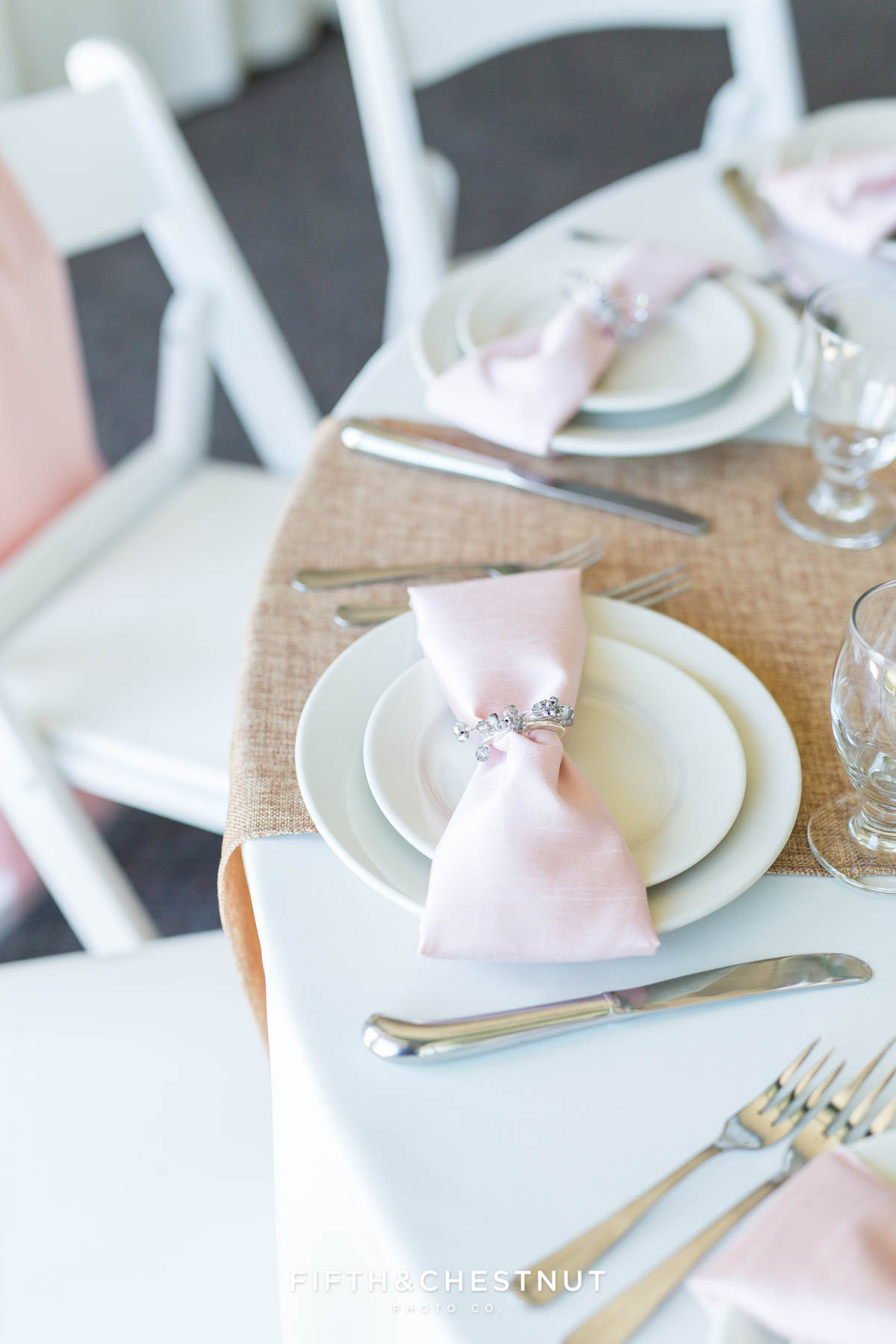 pink, white and burlap table settings for a multicultural wedding in North Lake Tahoe