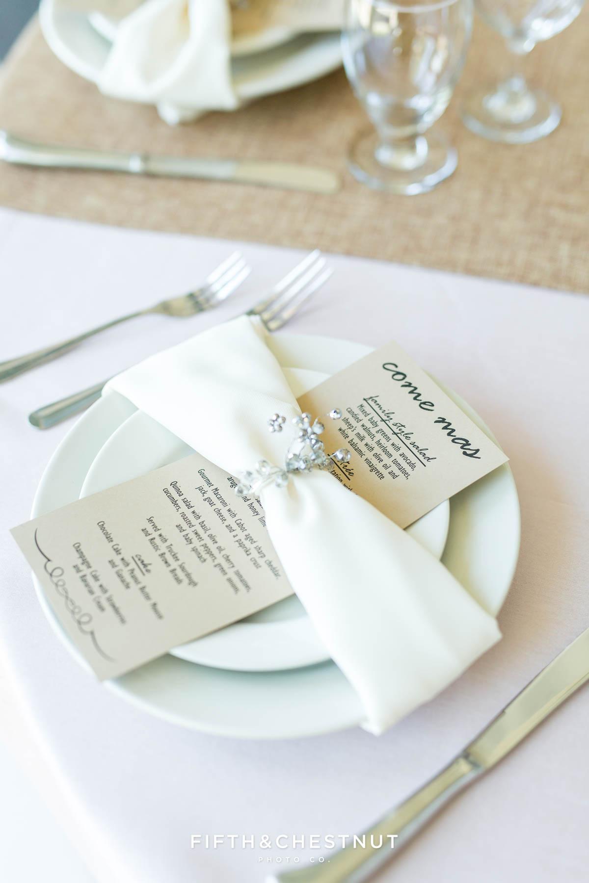 closeup of custom place settings for a North Lake Tahoe Wedding