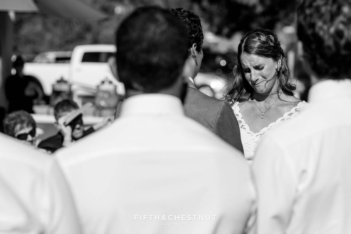 Bride reads vows to her husband for their North Lake Tahoe Wedding by Tahoe Photographer