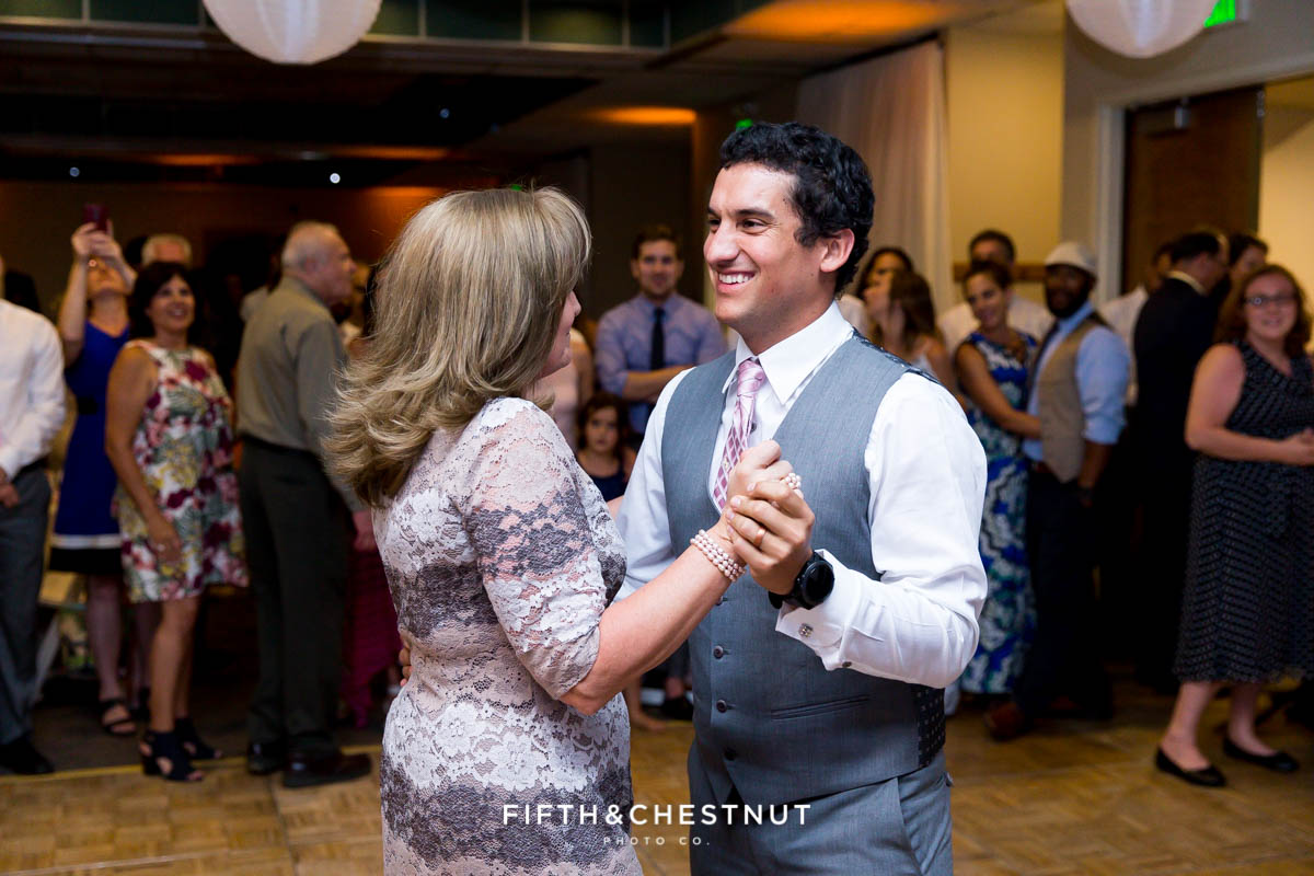 Mother and son dance at a North Tahoe Event Center Wedding