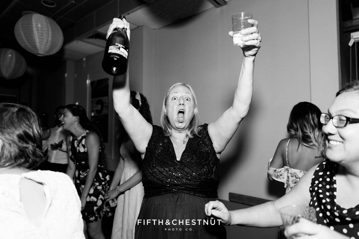 Wedding guest bringing out the booze for a North Tahoe Event Center Wedding