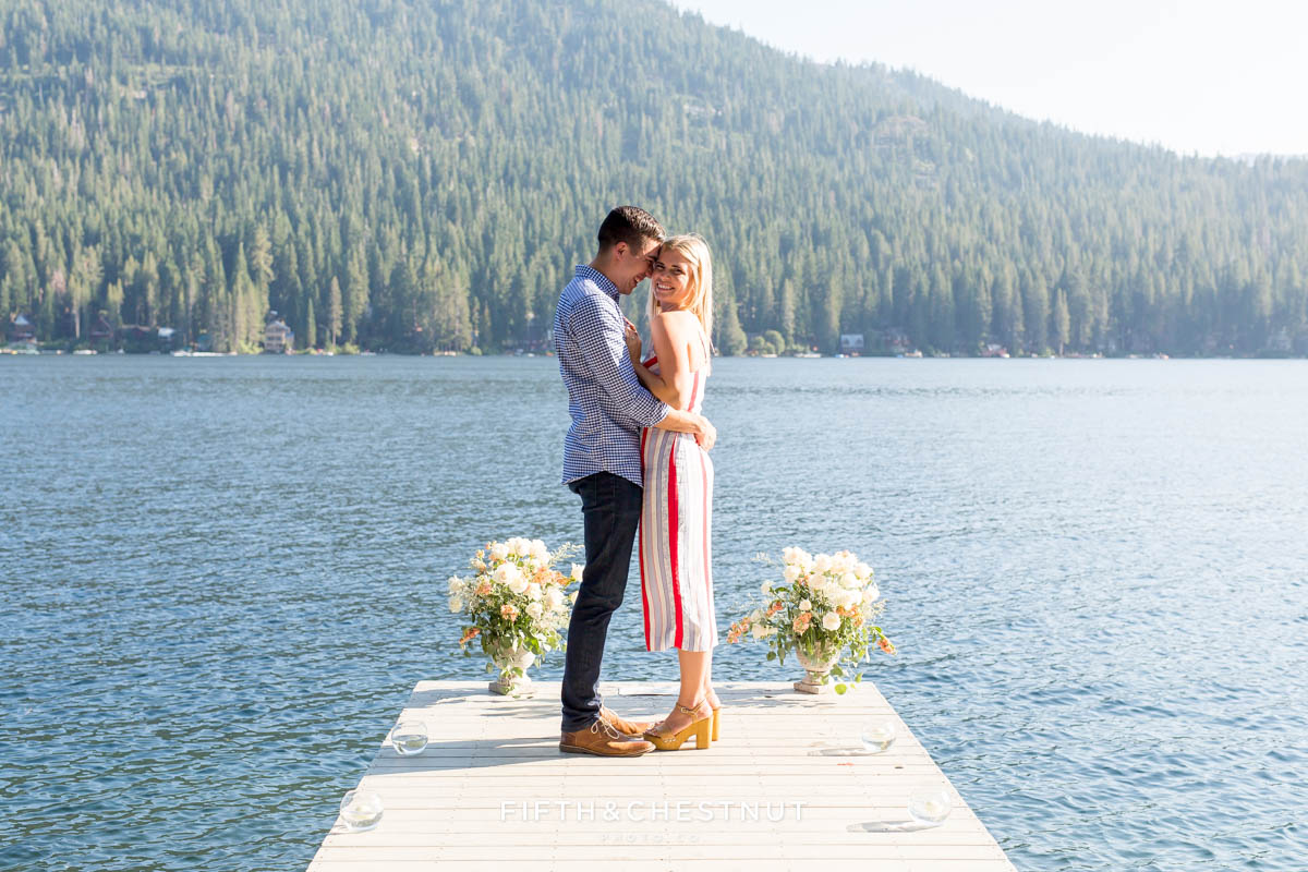 Sweet portrait of newly engaged couple at Donner Lake