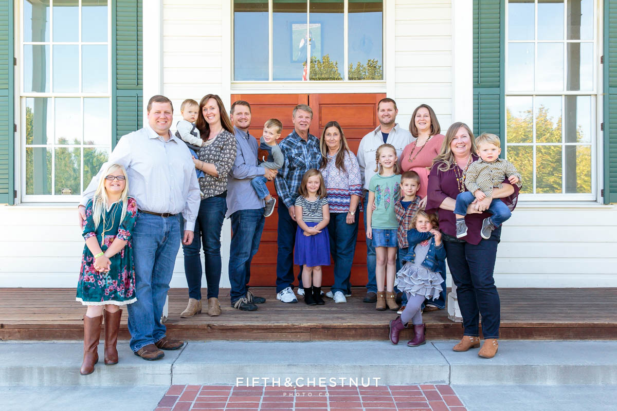 Extended family Bartley Ranch Portraits in fall by Reno Family Photographer