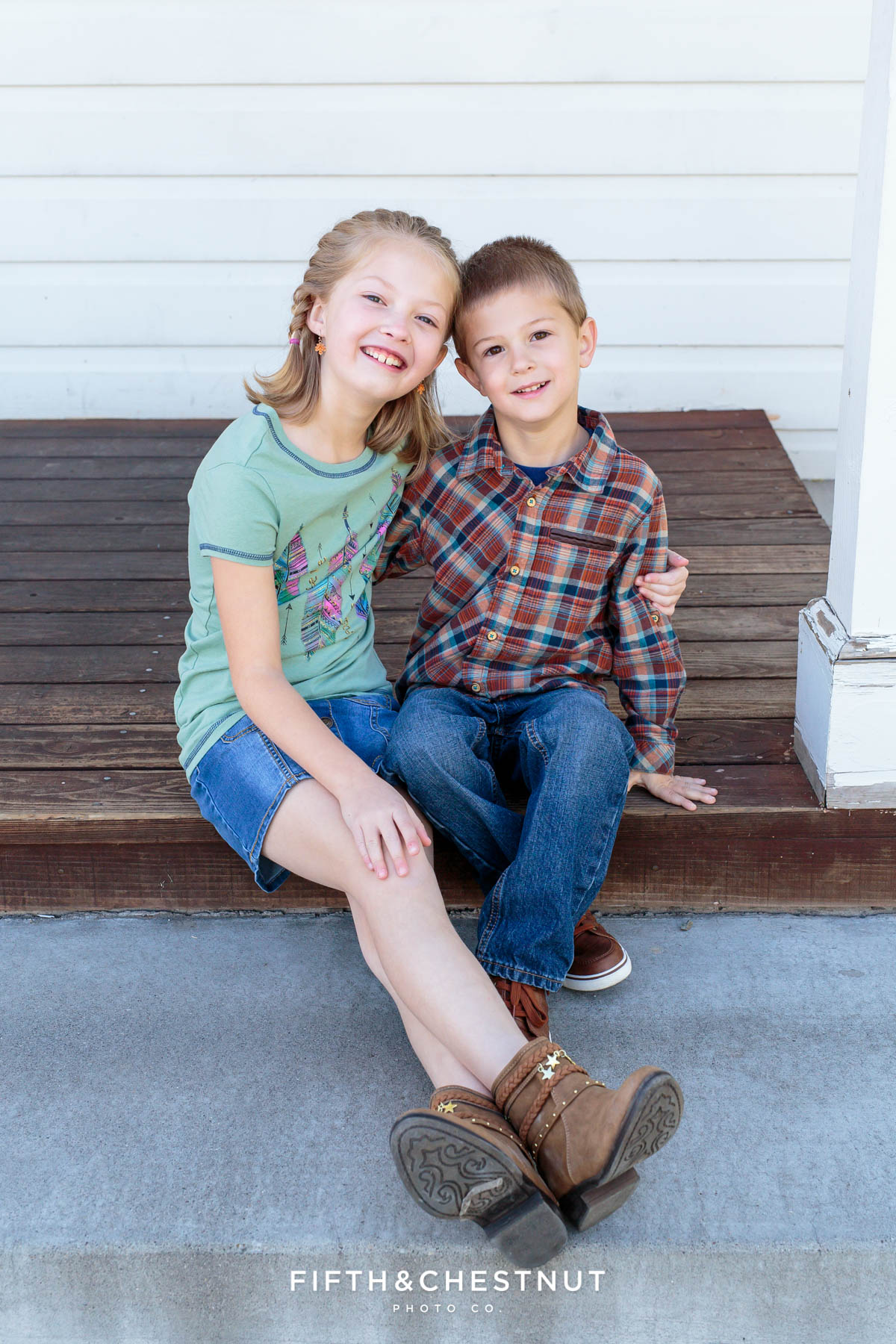 a boy and girl pose for Bartley Ranch Portraits by Reno Family Photographer