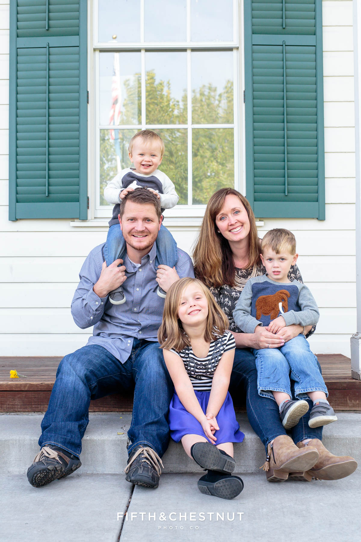 family of five poses for Bartley Ranch Portraits by Reno Family Photographer in the fall