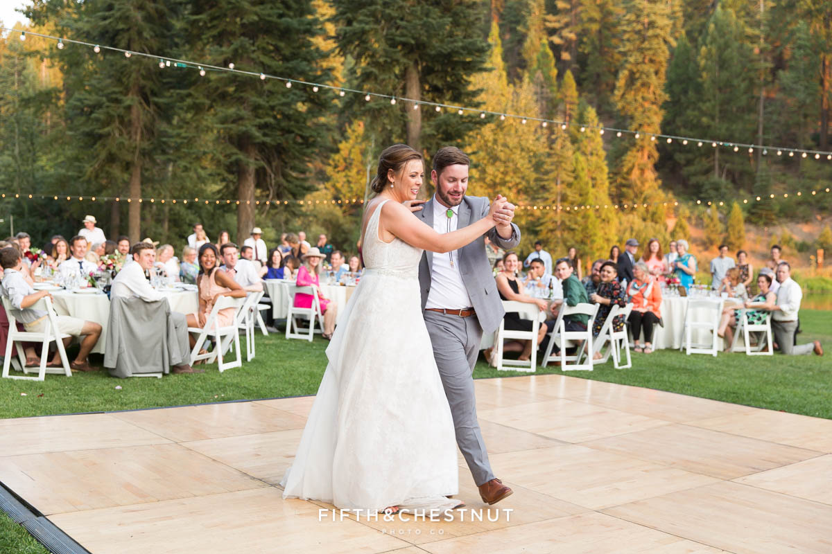 bride and groom first dance at their Greenhorn Creek Guest Ranch Wedding