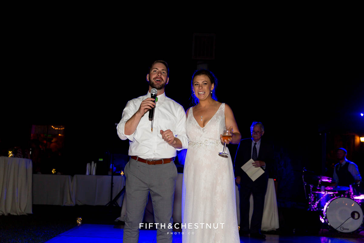 bride and groom give a welcome speech at a Greenhorn Creek Guest Ranch Wedding
