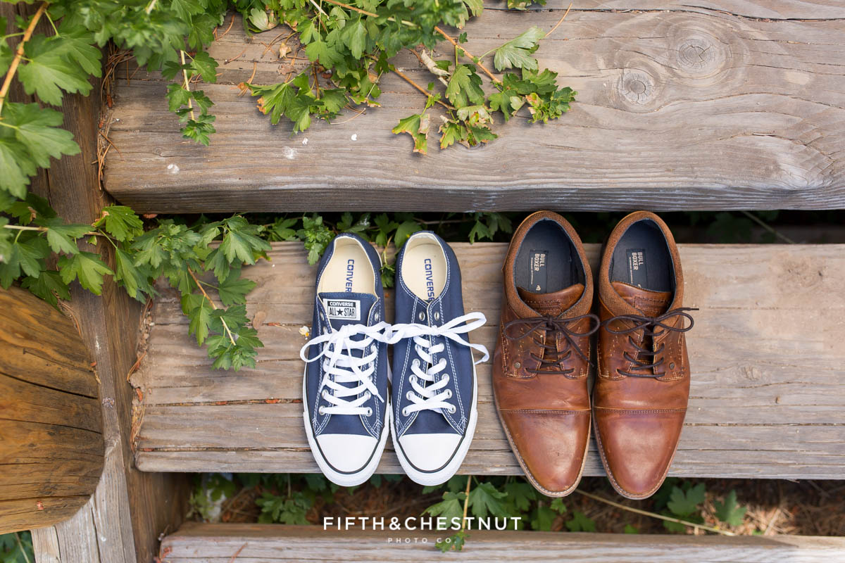 Groom's shoes on wooden steps before their PJ's at Gray's Crossing wedding
