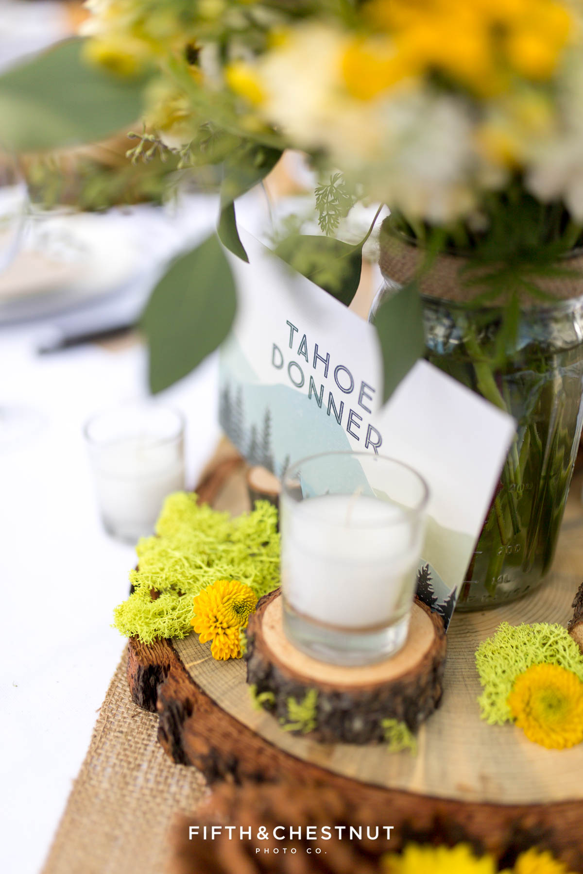 Close-up detail of table decor at a same-sex wedding in Truckee