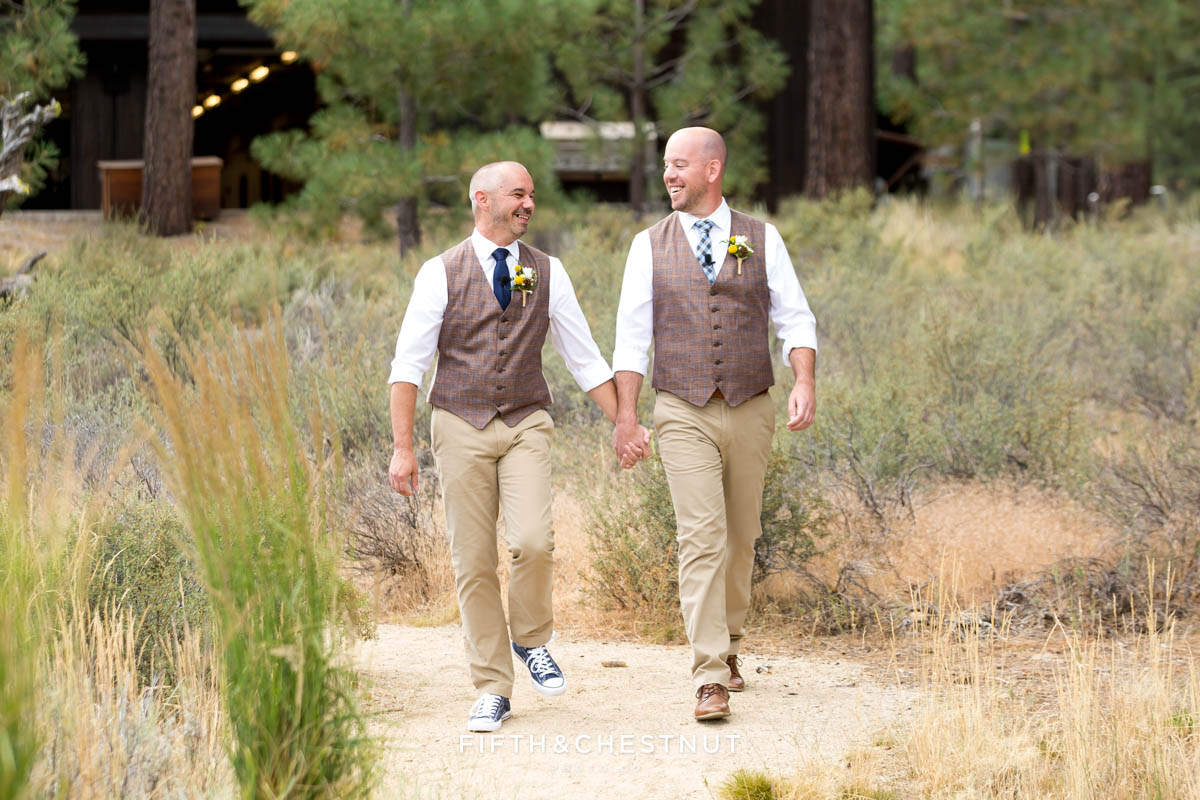 Grooms walk down the aisle together for their PJ's at Gray's Crossing wedding