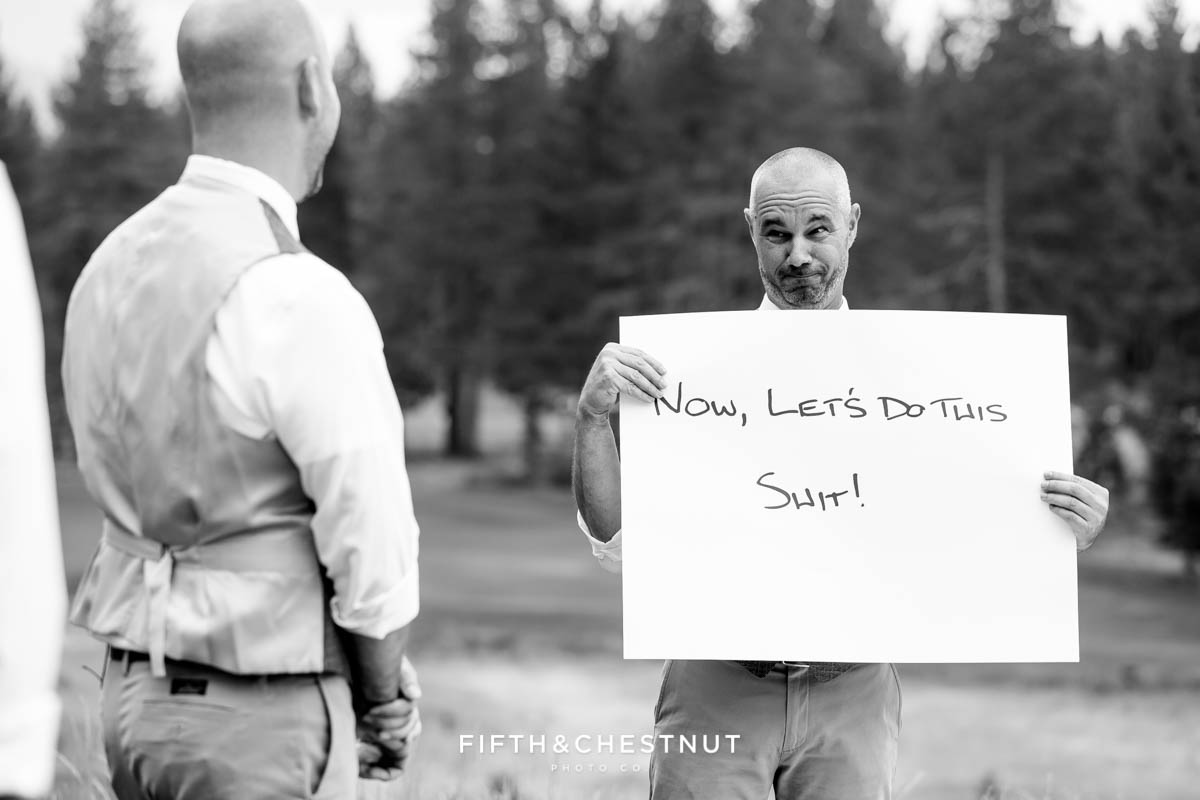 Groom uses cue cards to tell his vows at a PJ's at Gray's Crossing same-sex wedding