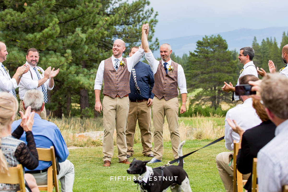 Grooms walk back down the aisle and celebrate at their Truckee Wedding at PJ's at Gray's Crossing