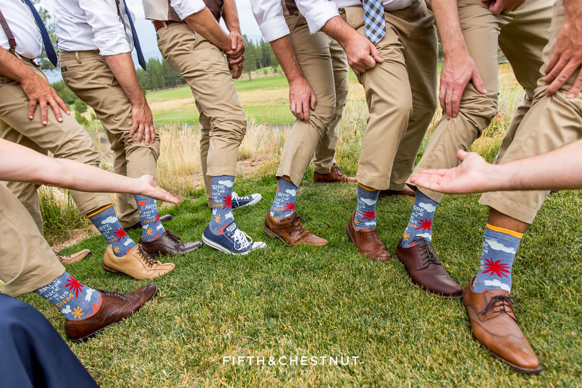 "Wedding party shows off their cool socks that read ""carpe the fuck out of this diem"""