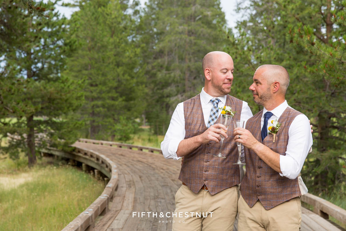 Grooms drink champagne in celebration of their gay wedding at PJ's at Gray's Crossing in Truckee