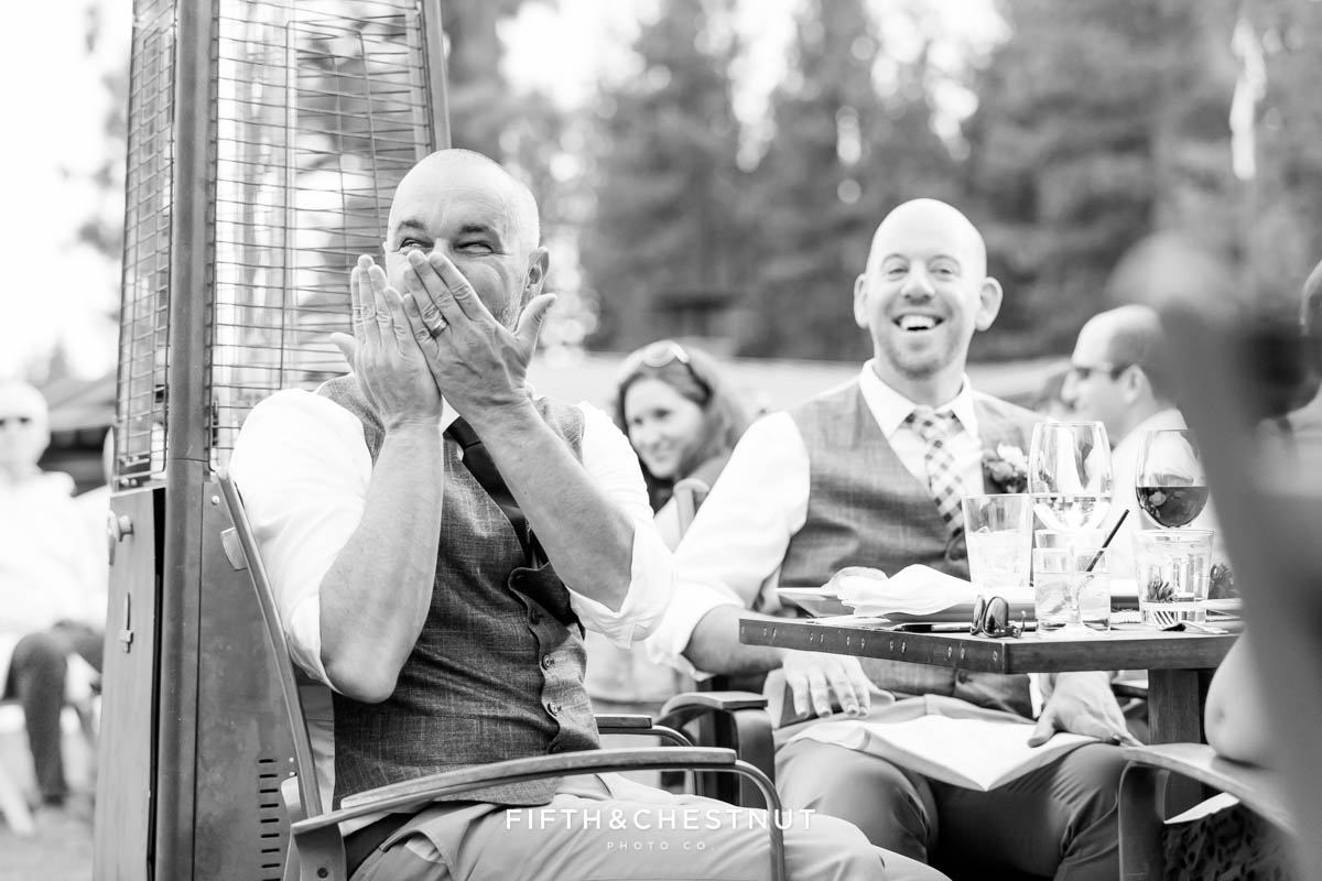 Groom blows his friend a kiss at his same-sex wedding in Truckee during her toast