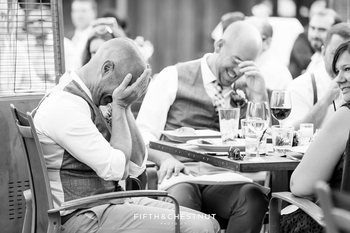 Grooms crack up in laughter at a Truckee Wedding at PJ's at Gray's Crossing