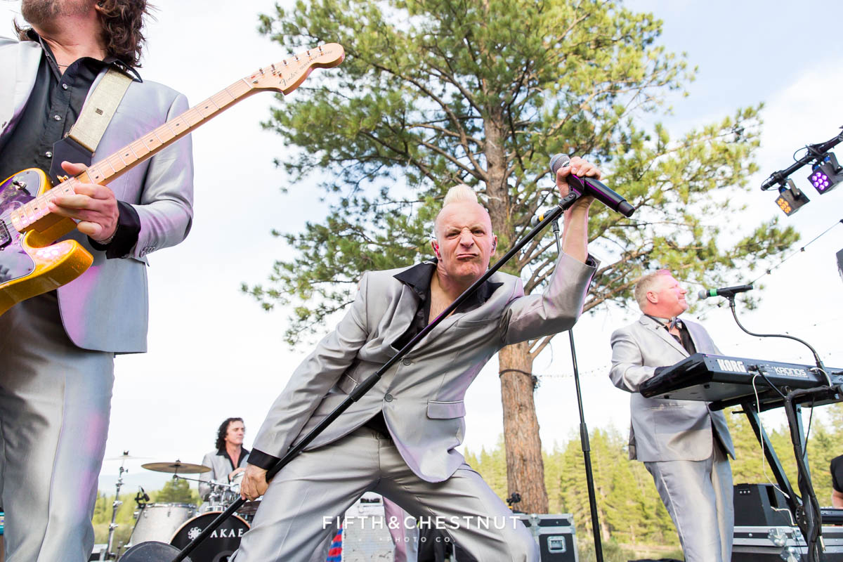 The lead singer of Wonderbread 5 gets crazy on stage for a PJ's at Gray's Crossing wedding