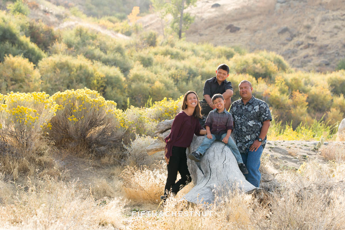 family of four sits and stands around a fallen log for vibrant fall  portraits at Mayberry Park