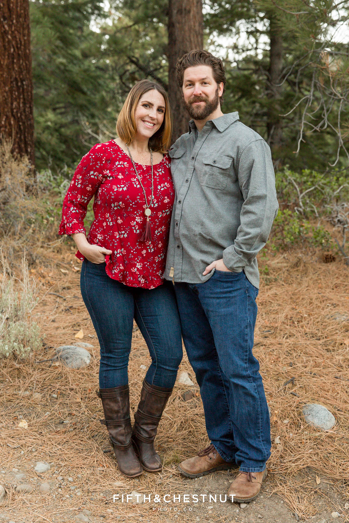 Portrait of husband and wife during their reno family photos at galena creek park