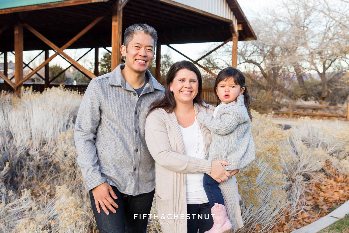 Adorable Reno Family Portraits of family in front of Bartley Ranch covered bridge in Reno